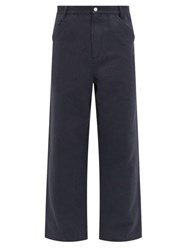 Raey Wide Leg Cotton And Linen Blend Trousers Navy