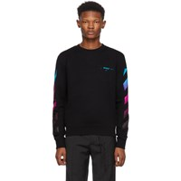 Off White Black Diagonal Gradient Crewneck Sweatshirt