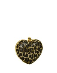 Whiting And Davis Charity Heart Minaudiere Leopard