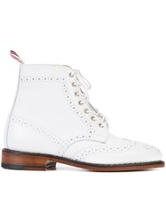 Thom Browne Lace Up Brogue Boots White