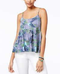 Roxy Juniors' Retro Gold Open Back Floral Print Tank Top Blue Green Combo