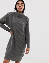 Only Roll Neck Knitted Mini Jumper Dress In Grey Dark Grey