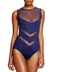 Vince Camuto High Neck Mesh One Piece Swimsuit Navy