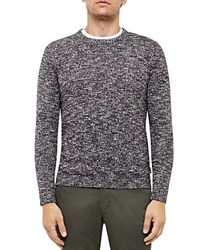 Ted Baker Marled Knit Crewneck Sweater Charcoal