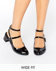 New Look Wide Fit Patent Ankle Strap Shoe Black
