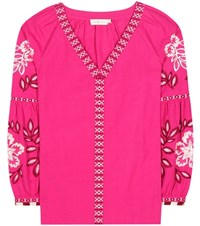 Tory Burch Therese Embroidered Cotton Tunic Pink
