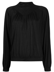 Closed Long Sleeve Fitted Blouse Black