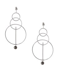 Bcbgeneration Pearl Group Faux Pearl Triple Circle Drop Earrings Silver