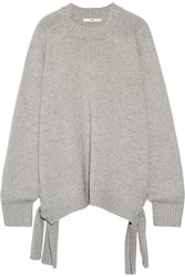 Tibi Tie Side Cashmere Sweater Light Gray