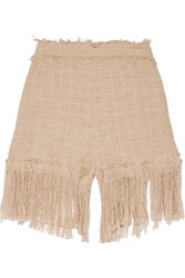 Msgm Fringed Cotton Blend Tweed Shorts Beige