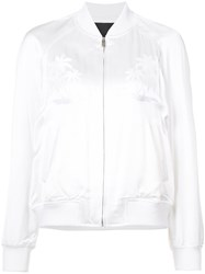Alexander Wang Palm Tree Embroidered Bomber Jacket Women Polyester Viscose Xs White