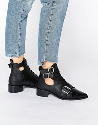 Asos Aden Pointy Ankle Boots Black Snake Mix