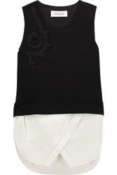 Derek Lam 10 Crosby By Layered Embroidered Stretch Cotton Ponte And Cotton Poplin Top Black