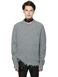 Msgm Oversized Distressed Wool Knit Sweater