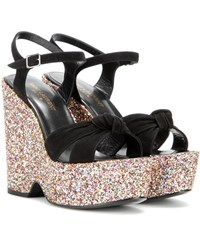 Saint Laurent Candy 85 Embellished Suede Wedge Sandals Black