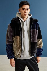 Urban Outfitters Uo Patchwork Faux Fur Jacket Black Multi
