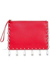 Versus By Versace Woman Embellished Textured Leather Pouch Red