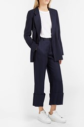 Sea Cuffed Wool Trousers Navy
