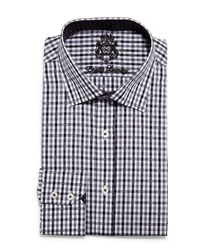 English Laundry Mini Gingham Check Dress Shirt Gray Blue