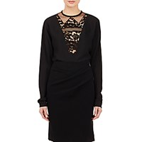 Lanvin Women's Lace Inset Tunic Blouse Black Blue Black Blue
