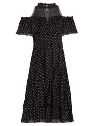 Rebecca Taylor Spot Fil Coupe Silk Blend Chiffon Dress Black Silver