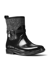 Michael Michael Kors Charm Stretch Vachetta Leather And Tweed Rain Booties Black