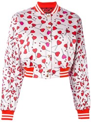 Diesel Heart Print Bomber Jacket Women Cotton Acrylic Nylon Xs Pink Purple