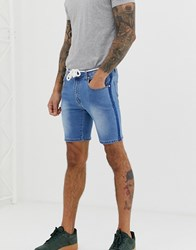 Liquor N Poker Denim Shorts In Stonewash With Rope Tie And Side Fade Blue
