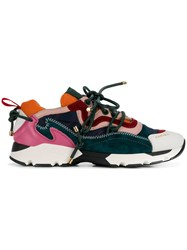 Carven Colour Block Lace Up Sneakers Green