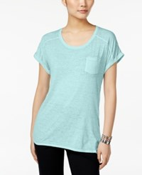Styleandco. Style And Co. One Pocket Burnout Tee Only At Macy's Pacific Aqua