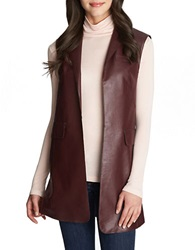 1 State Faux Leather Long Vest Cherry