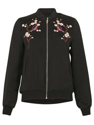 Izabel London Zip Up Embroidered Bomber Jacket Black