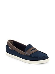 Cole Haan Canvas Penny Loafers Navy