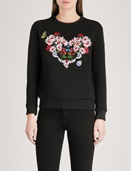 Maje Telbi Embroidered Jersey Sweatshirt Black