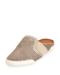 Frye Melanie Metallic Perforated Mule Silver