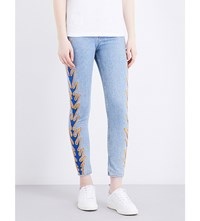 Sandro Flame Embroidery High Rise Skinny Jeans Blue Vintage Denim