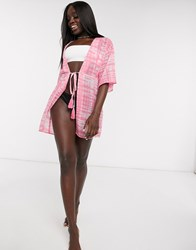 Influence Beach Co Ord In Pink Tie Dye