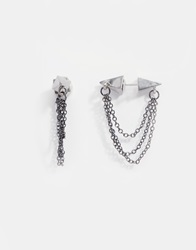 Pieces Rebel Chain Through And Through Earrings Gunmetal