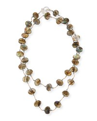 Faceted Flat Labradorite Necklace 35' Silver Margo Morrison
