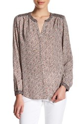 Nydj Long Sleeve Mix Print Blouse Petite Gray