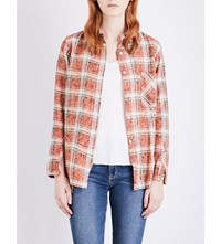 Drifter Mary Cotton Flannel Shirt Red Plaid
