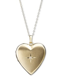Macy's 14K Gold Necklace Diamond Accent Reversible Heart Locket