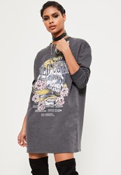 Missguided Grey Wild Youth Graphic Printed Rock Jumper Dress