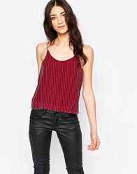 Glamorous Beaded Cami Top Burgundy Red