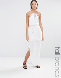 Vero Moda Tall Embroidered Halter Neck Maxi Dress White