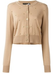 Love Moschino Studded Cardigan Nude And Neutrals
