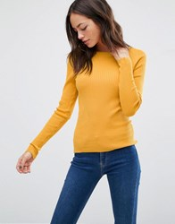 Oasis Ribbed Crew Neck Jumper Ochre Yellow