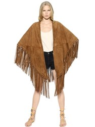 Talitha Embroidered And Fringed Suede Cape
