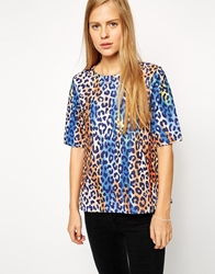 Asos Textured T Shirt In Animal Print Multi