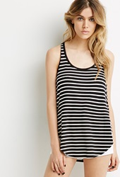 Forever 21 Striped Tulip Racerback Tank Black Cream